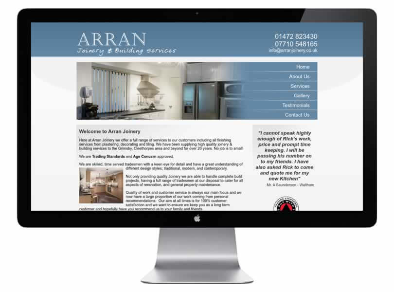 Arran Joinery Building Services Website Designed