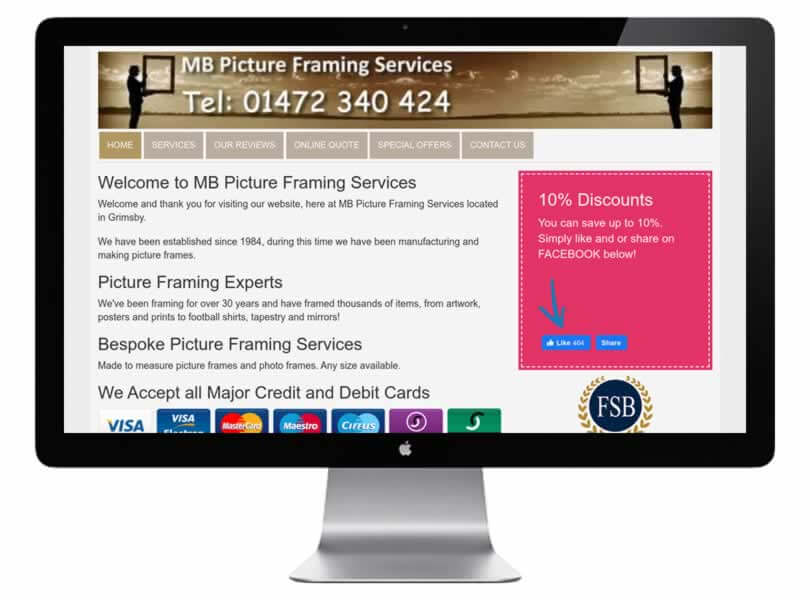 MB Picture Framing Service Website Design Grimsby